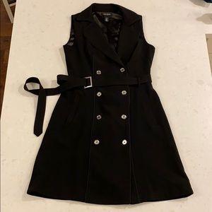 WHBM black sleeveless belted dress